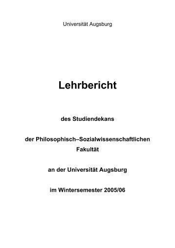 Lehrbericht des Studiendekans WS 2005/06 - Philosophisch ...