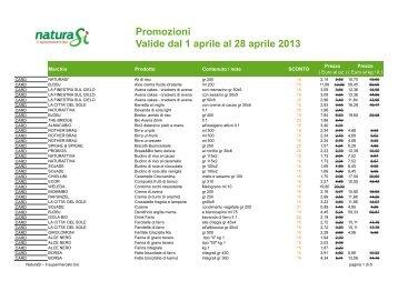 Promozioni Valide dal 1 aprile al 28 aprile 2013 - NaturaSì