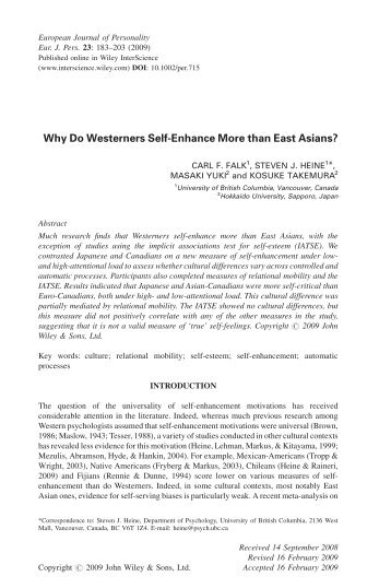 Why Do Westerners Self-Enhance More than East Asians?
