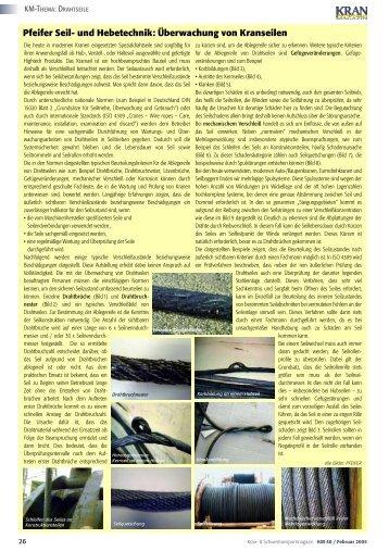 Überwachung von Drahtseilen/Das Drahtseil alos ... - KRANMAGAZIN