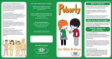 Puberty changes for girls and boys - FPWA Sexual Health Services
