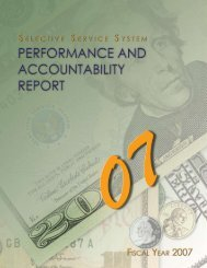 Performance and Accountability Report - Selective Service System