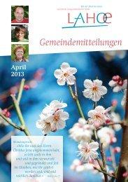 Gemeindemitteilungen April 2013