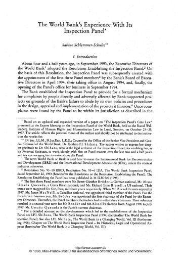 Inspection Panel* - Zeitschrift für ausländisches öffentliches Recht ...