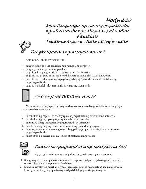 Modyul 20-Alternatibong solusyon-pabuod-pasaklaw pdf