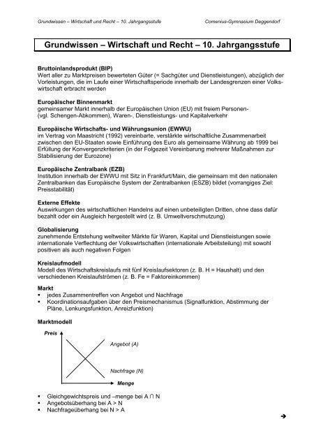 Wirtschaft Und Recht Klasse 10 Pdf 188 Kb Comenius Gymnasium