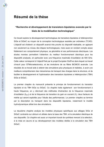 Investigation and development of advanced Si/SiGe and Si/SiGeC ...