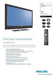 42PFL7332/10 Philips Breitbild-Flat TV mit PIXEL PLUS 2 HD - Prad