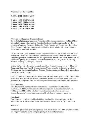 Peloponnes und die Wilde Mani A. VOM 25.12 ... - Eine Welt Reisen