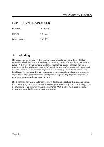 managementsamenvatting inspectie 14-7-2011 - Waarderingskamer