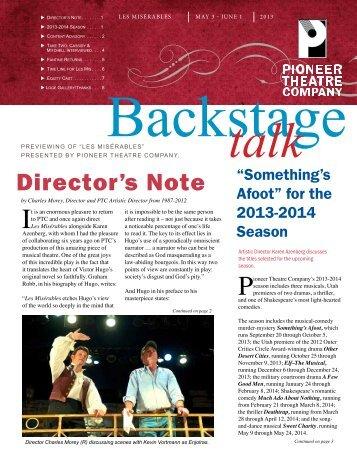 Director's Note - Pioneer Theatre Company