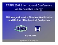 Mill Integration with Biomass Gasification and Biofuel ... - Tappi