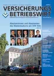 Absolventinnen und Absolventen des Masterstudiums am IVW Köln