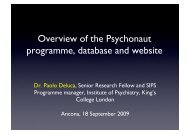 Overview of the Psychonaut programme, database and website