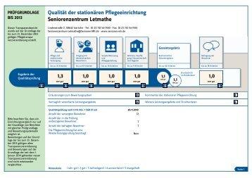 Qualität der stationären Pflegeeinrichtung Seniorenzentrum Letmathe