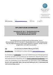 diplomstudium zahnmedizin - Medizinische Universität Innsbruck