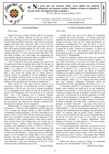 Lettre aux Amis et Bienfaiteurs du printemps 2007 - La Porte Latine