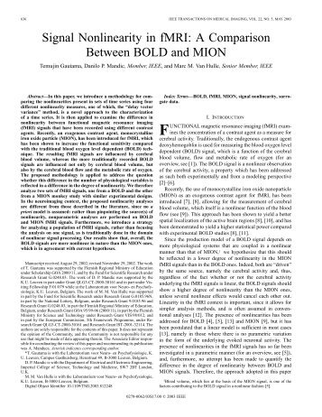 Signal nonlinearity in fMRI: a comparison between ... - IEEE Xplore
