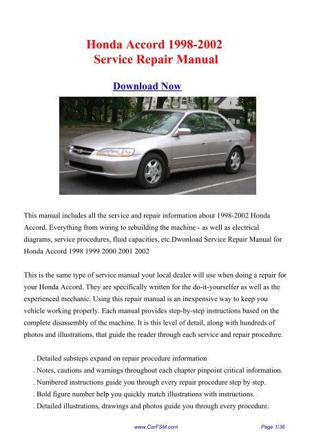 1998 honda accord service manual