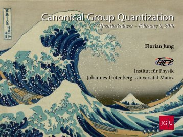 Canonical Group Quantization - THEP Mainz - Johannes Gutenberg ...