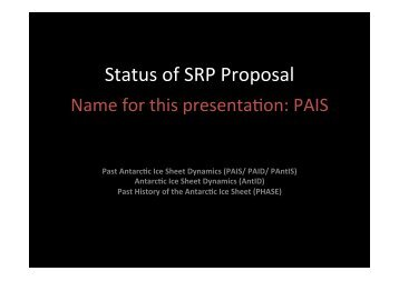 Status of SRP Proposal - Scientific Committee on Antarctic Research