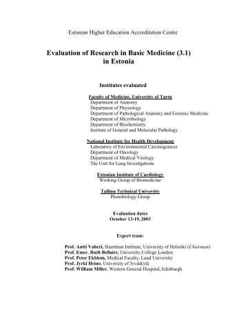 Evaluation of Research in Basic Medicine