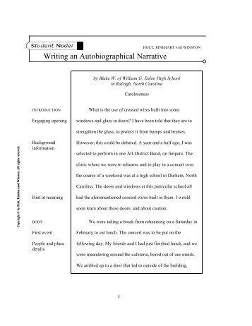 Autobiography narrative essay