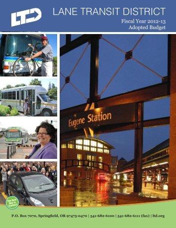 2012-2013 Adopted Budget - Lane Transit District