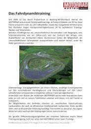 Das Fahrdynamiktraining - Motorrad online