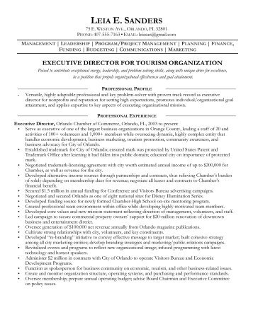 sample executive director resume