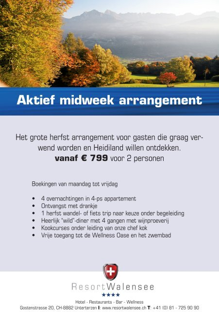Aktief midweek arrangement - Resort Walensee
