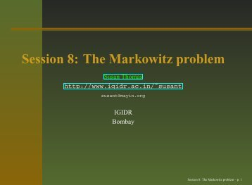 Session 8: The Markowitz problem