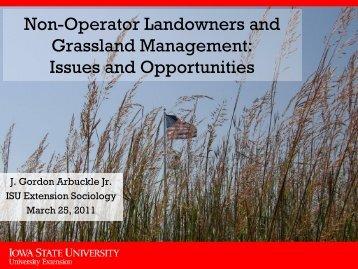 Non-Operator Landowners and Grassland ... - Iowa Beef Center