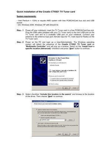 Quick installation of the Creatix CTX921 TV Tuner card