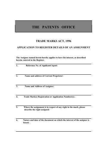 the patents office trade marks act, 1996 - Irish Patents Office
