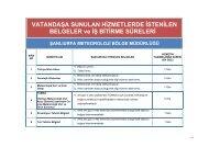 VATANDAŞA SUNULAN HİZMETLERDE İSTENİLEN BELGELER ve ...