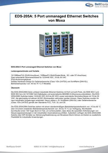 EDS-205A: 5 Port unmanaged Ethernet Switches ... - BellEquip GmbH