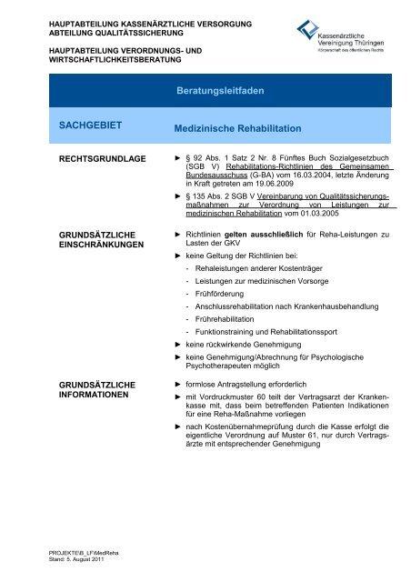 Medizinische Rehabilitation - Kassenärztliche Vereinigung Thüringen