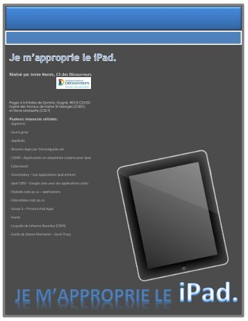 Je m'approprie le iPad - Service national du RÉCIT à l'éducation ...
