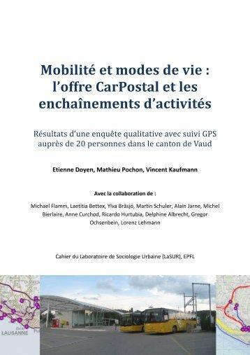 Mobilité et modes de vie: l'offre CarPostal et les ... - Postauto