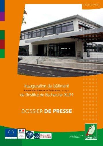Cliquez ici pour consulter le dossier de presse - Université de Limoges