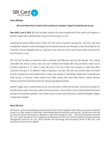 Press Release - SBI Credit Card India