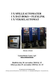3 X SPILLEAUTOMATER 1 X DAT-BOKS + ... - konkurser.dk
