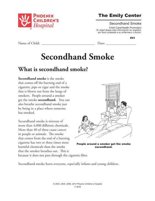 Secondhand Smoke Might Triple Childs >> Second Hand Smoke Phoenix Children S Hospital