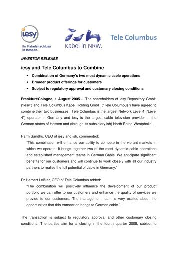 iesy and Tele Columbus to combine