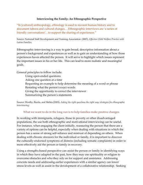 example of an ethnographic interview paper