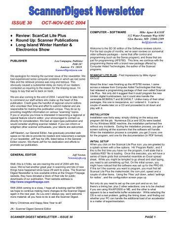 Issue 30 - Scanner Digest Newsletter