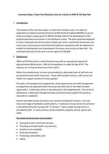 Summary paper short form business case for a nhs kirklees wajeb Choice Image