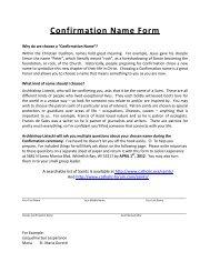 Confirmation Name Form - St. Monica's Parish