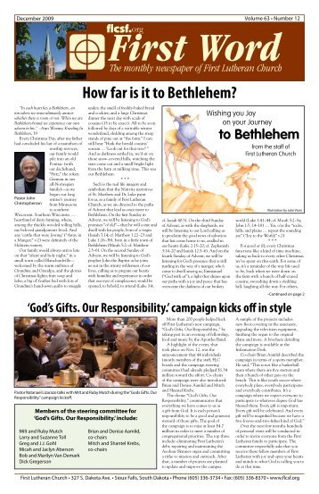 How far is it to Bethlehem? - First Lutheran Church of Sioux Falls